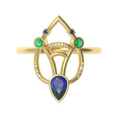 Interlocking Geometry Multi-Stone Sapphire And Emerald Gold Ring