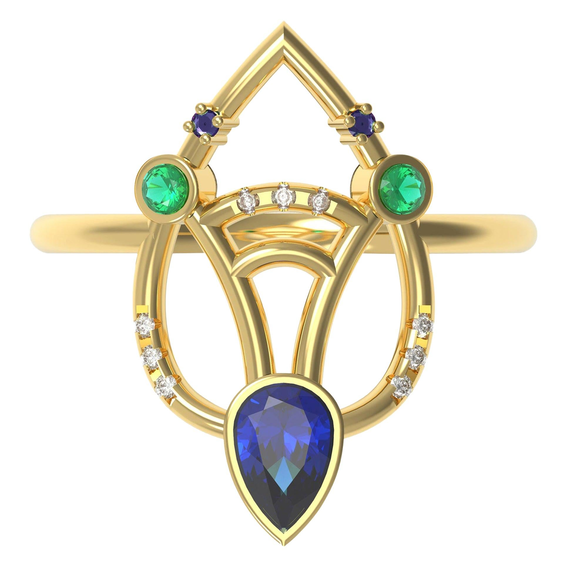 Interlocking Geometry Multi-Stone Sapphire and Emerald Gold Ring