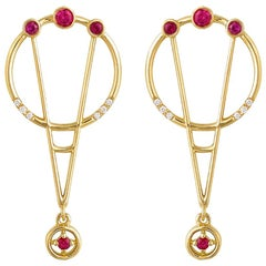 Interlocking Geometry Ruby and Diamond 18 Karat Gold Earrings
