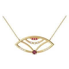 Interlocking Geometry Ruby and Diamond 18 Karat Gold Evil Eye Pendant