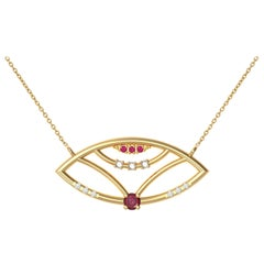Interlocking Geometry Ruby and Diamond 18 Karat Gold Evil Eye Pendant