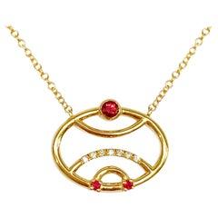 Interlocking Geometry Ruby and Diamond 18 Karat Gold Pendant