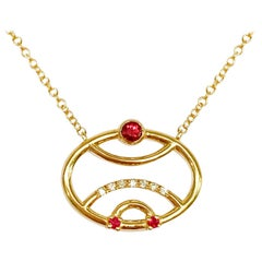 Interlocking Geometry Ruby and Diamond 18 Karat Gold Pendant