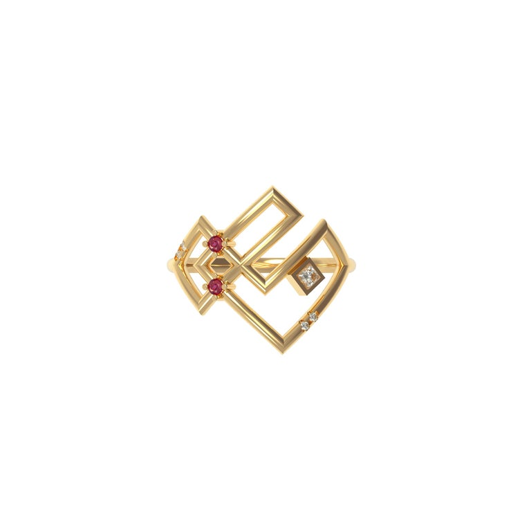 Designer: Alexia Gryllaki Dimensions: L20x18mm Ring Size: UK N 1/2 (USA 7) Weight: approximately 3.1g  Barcode: ING044R  The Interlocking Geometry ring in 18 karat yellow gold with rubies approx. 0.08cts, princess-cut and round brilliant-cut