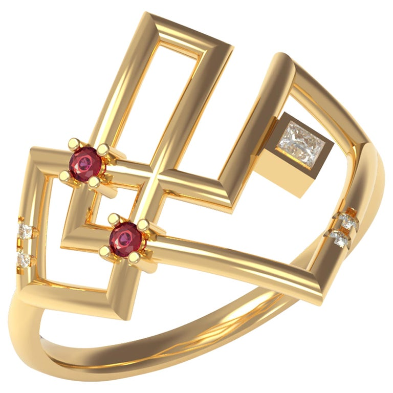 Interlocking Geometry Ruby and Diamond 18 Karat Gold Ring For Sale