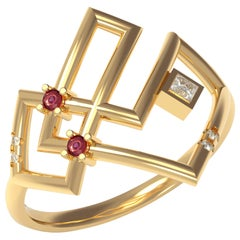 Interlocking Geometry Ruby and Diamond 18 Karat Gold Ring