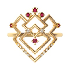Interlocking Geometry Ruby and Diamond 18 Karat Gold Ring
