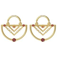 Interlocking Geometry Ruby and Diamond Gold Earrings