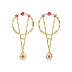 Interlocking Geometry Ruby and Diamond Gold Earrings