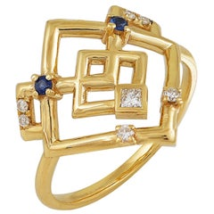 Interlocking Geometry Sapphire and Diamond 18 Karat Gold Ring