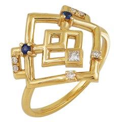 Interlocking Geometry Sapphire and Diamond 18 Karat Gold Ring