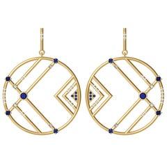 Interlocking Geometry Sapphire and Diamond Gold Earrings