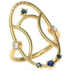 Interlocking Geometry Sapphire and Diamond Gold Ring