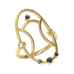 Interlocking Geometry Sapphire and Diamond Gold Ring