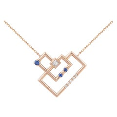 Interlocking Geometry Sapphire and Diamond Heart Pendant