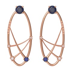 Interlocking Geometry Sapphire and Diamond Rose Gold Earrings