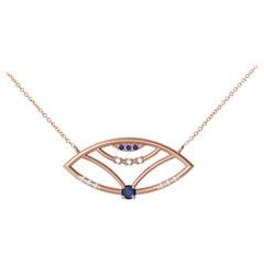 Interlocking Geometry Sapphire and Diamond Rose Gold Evil Eye Pendant