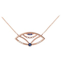Interlocking Geometry Sapphire And Diamond Rose Gold Evil Eye Pendant