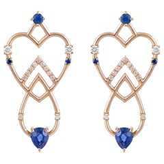 Interlocking Geometry Sapphire and Diamond Rose Gold Long Earrings