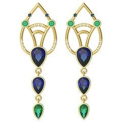 Interlocking Geometry Sapphire and Emerald Gold Earrings