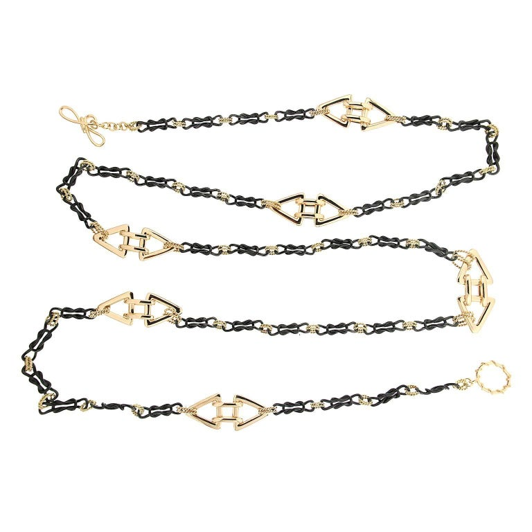 Interlocking Mariner Chain in Gold and Blackened Silver