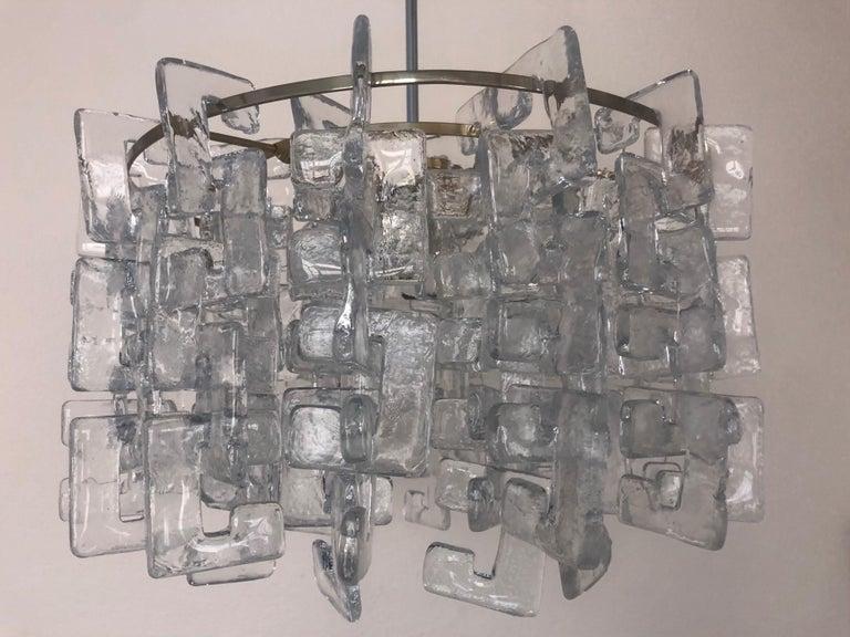 Late 20th Century Interlocking Murano Glasses Chandelier by Carlo Nason for Mazzega, 1970s For Sale