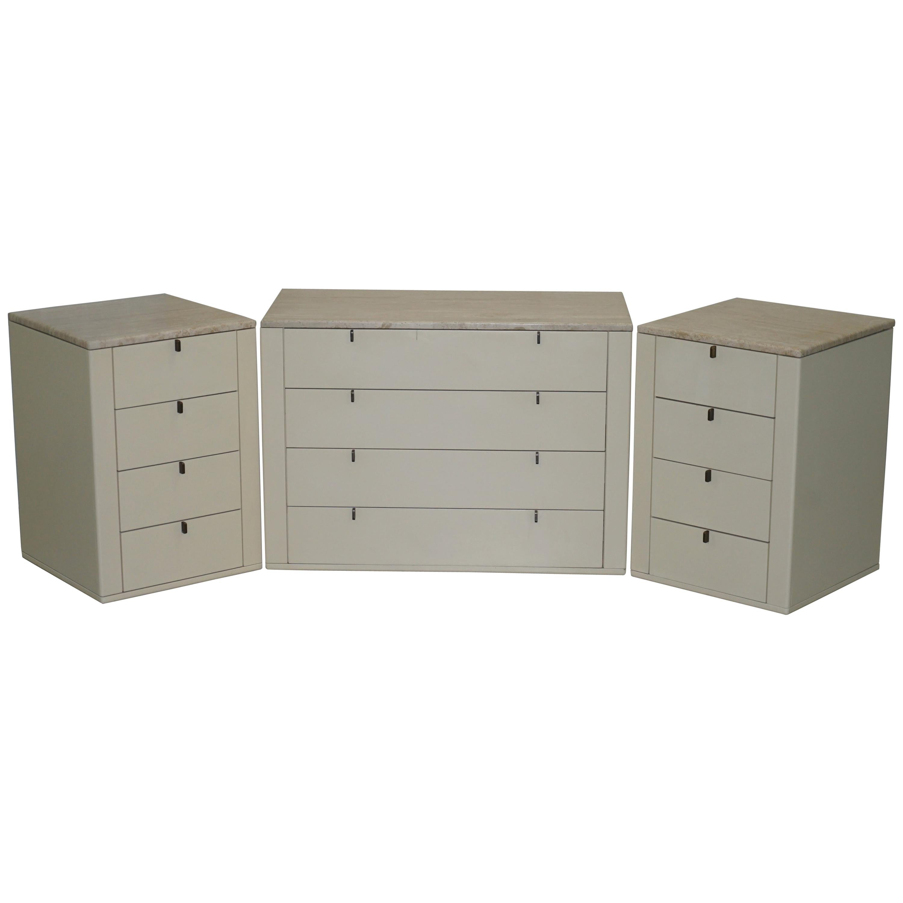 Interlubke Made in Germany Marble Topped Chest of and Pair of Bedside Drawers