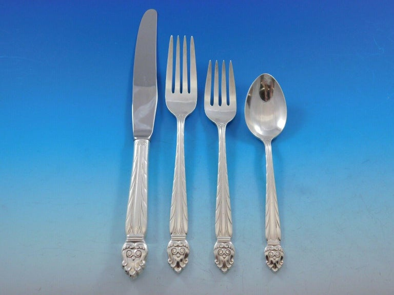 Intermezzo, National Sterling Silver Flatware Set Service 65 Pieces Scandinavian In Excellent Condition For Sale In Big Bend, WI