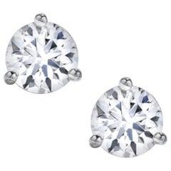 Internally Flawless 1.86 Carat GIA Certified Round Brilliant Cut Diamond Studs