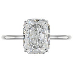 Internally Flawless H Color GIA Certified 1.53 Carat Long Radiant Diamond Ring