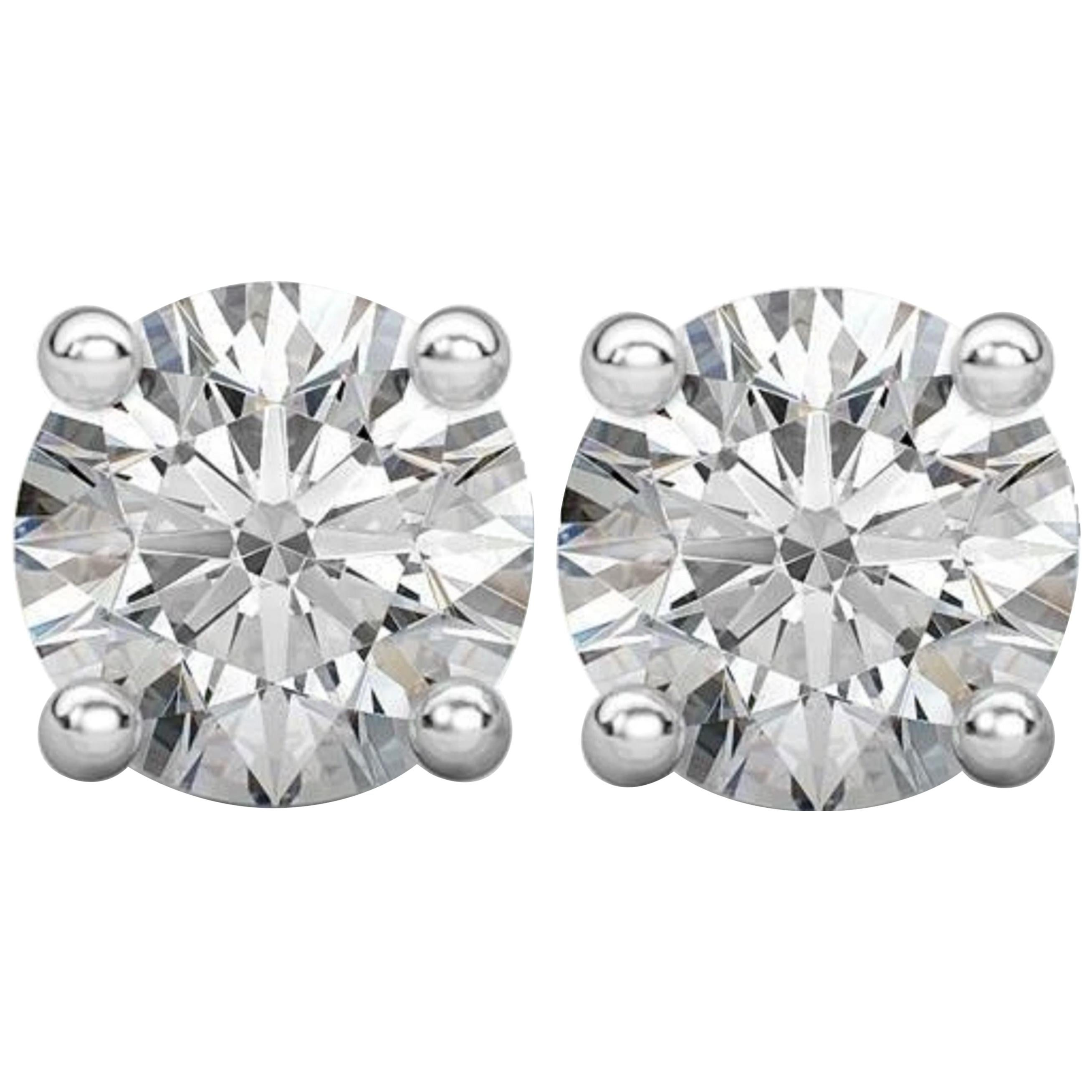 Internally Flawless D Color GIA Certified 1.80 Carat Diamond Studs