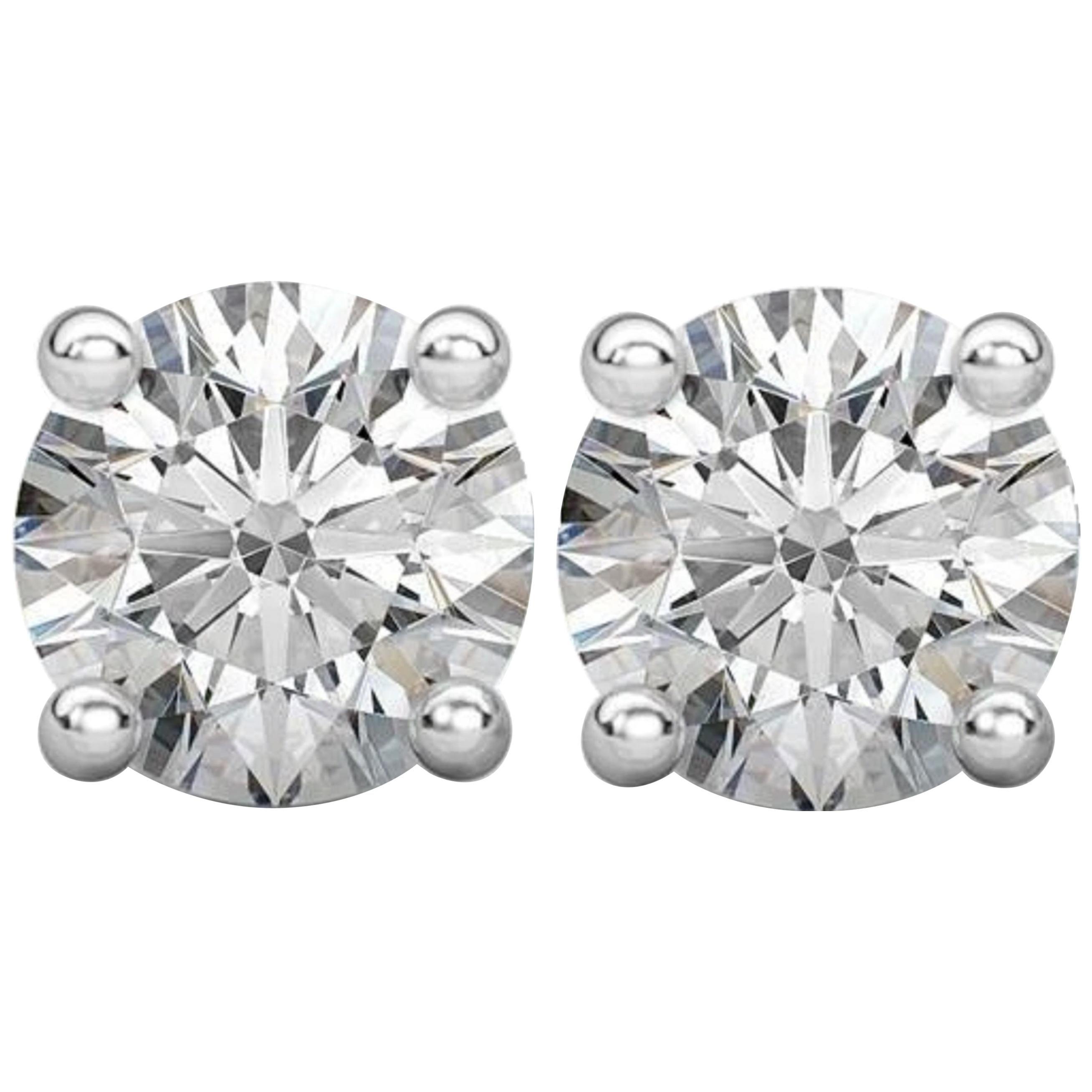 Internally Flawless D Color GIA Certified 1.80 Carat Diamond Studs