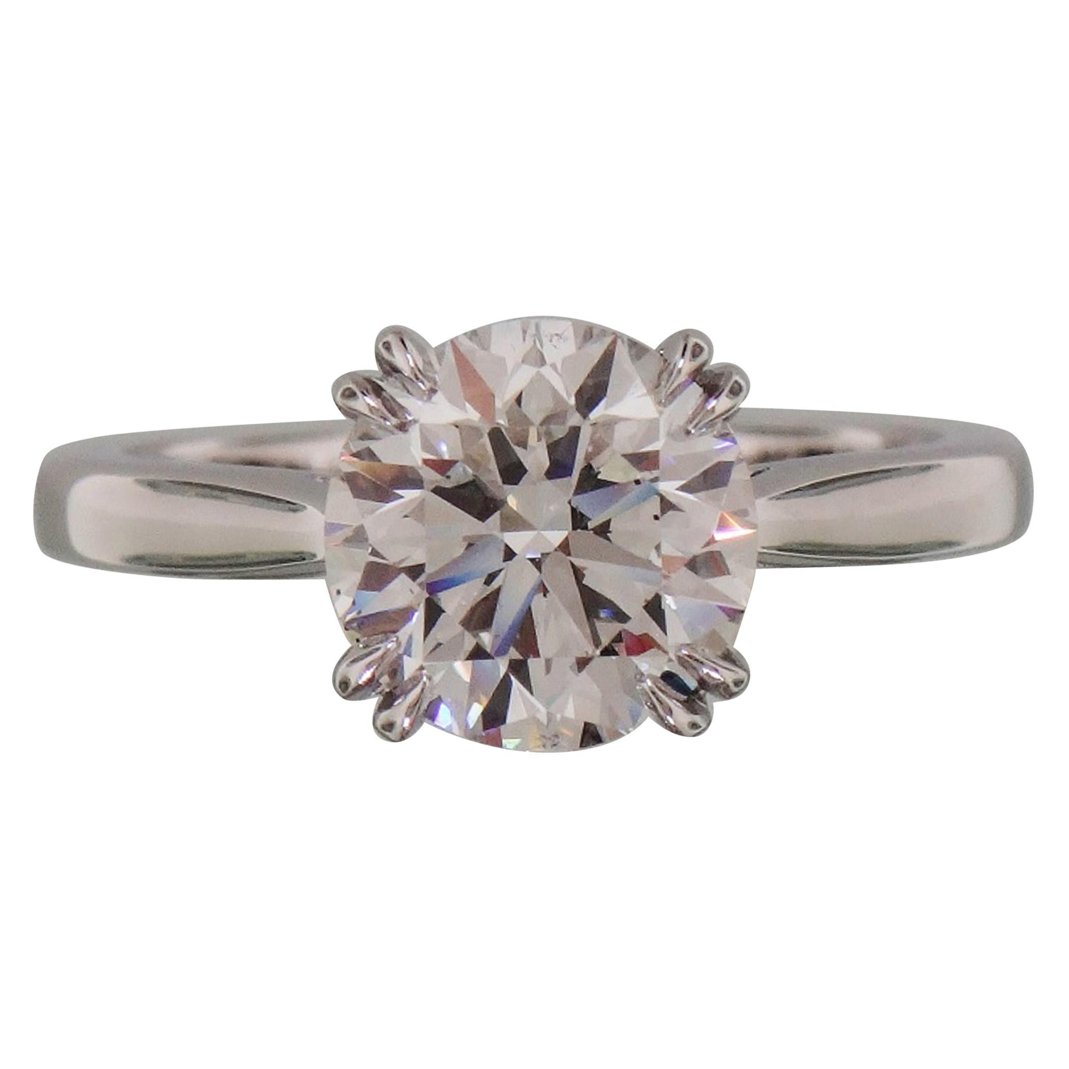 FLAWLESS GIA Certified 2 Carat Round Brilliant Cut Platinum Solitaire Ring