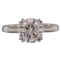 GIA Certified 2.01 Carat Round Brilliant Cut Platinum Solitaire Engagement Ring