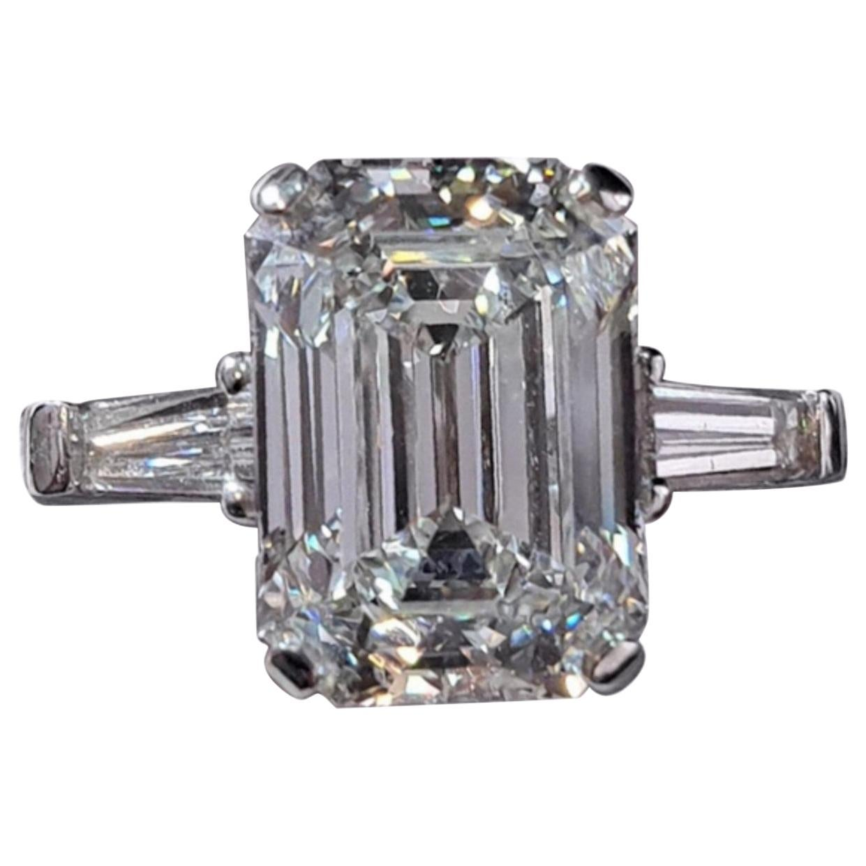 GIA Certified 3.65 Carat Emerald Cut Diamond