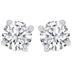Internally Flawless D Color GIA Certified 2.02 Carat Round Brilliant Cut Studs