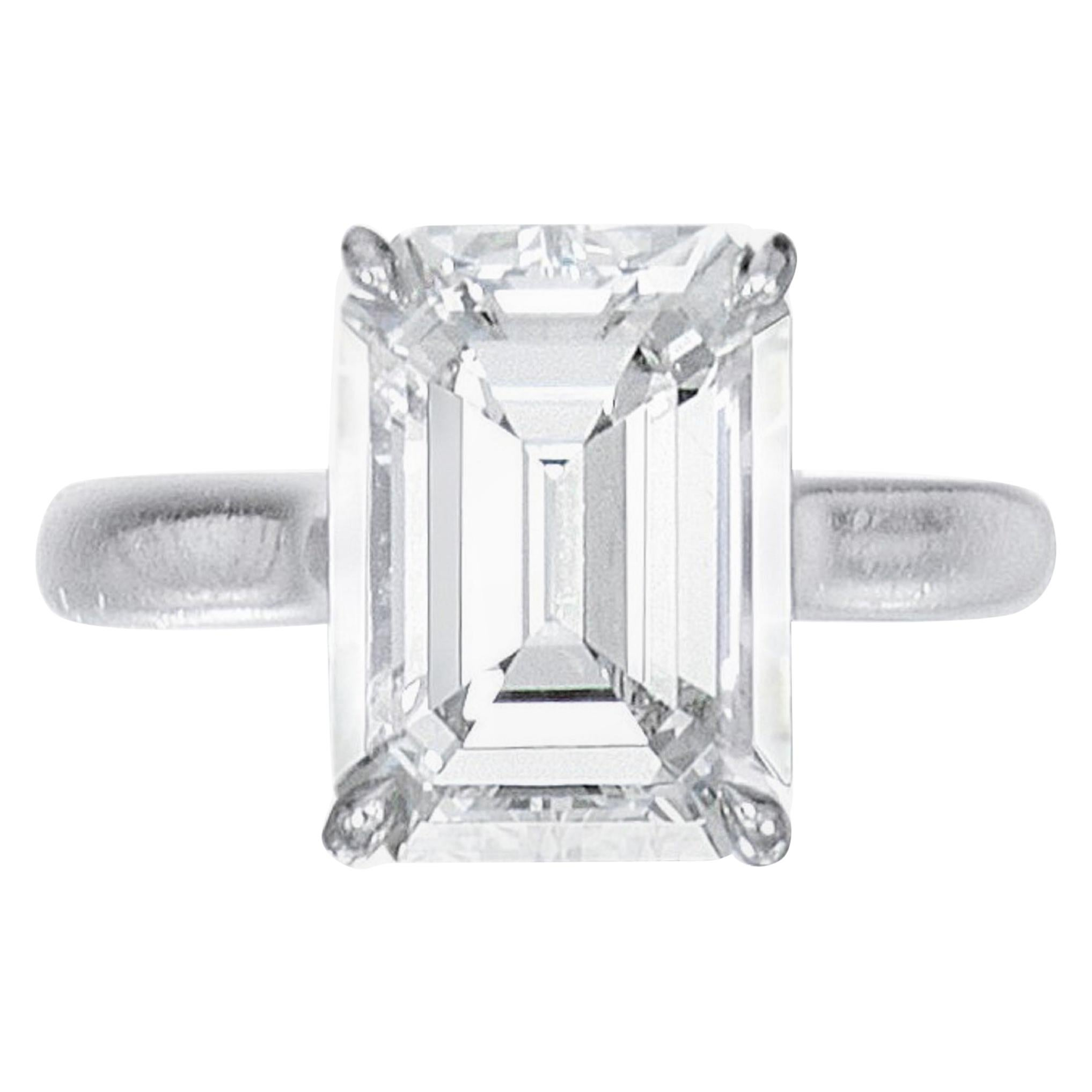 Internally Flawless D Color GIA Certified 2.23 Carat Emerald Cut Diamond Ring