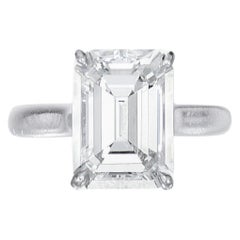 Internally Flawless D Color GIA Certified 2.06 Carat Emerald Cut Diamond Ring