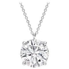 GIA 3.54 Carat Brilliant Cut Diamond Pendant 18 Carat White Gold Necklace
