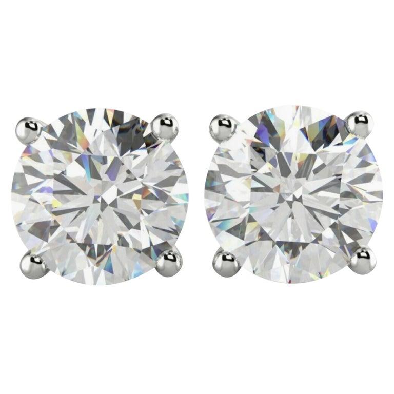 GIA Certified 3.01 Carat GIA Certified Diamond Studs E/F VVS1  For Sale