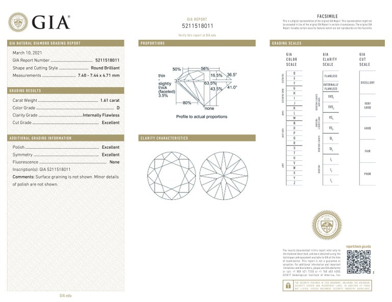 Modern Internally Flawless D Color GIA Certified 3.24 Carats Round Diamond Studs For Sale