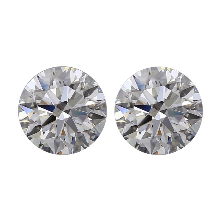 Internally Flawless D Color GIA Certified 3.24 Carats Round Diamond Studs For Sale
