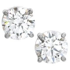 Internally Flawless GIA Certified 4.01 Carat Diamond Studs