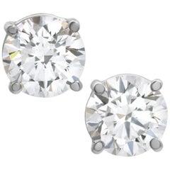 Internally Flawless D Color GIA Certified 4.01 Carat Diamond Studs