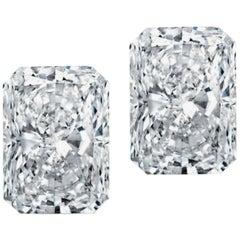 Internally Flawless  GIA 3.22 Carat Long Radiant Cut Diamond Studs