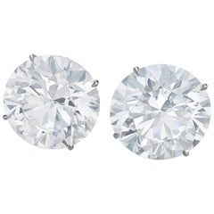 Internally Flawless D/E Color GIA Certified 4.16 Carat Round Diamond Studs