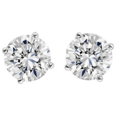 Internally Flawless E/F GIA Certified 2.37 Carat Brilliant Cut Diamond Studs