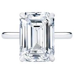 Internally Flawless E Color GIA 2.10 Carat Emerald Cut Diamond 1.54 Ratio
