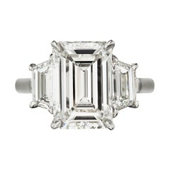 Internally Flawless E Color GIA Certified 2.67 Emerald Cut Diamond Ring