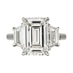 Internally Flawless E Color GIA Certified 2.67 Emerald Cut Diamond Ring